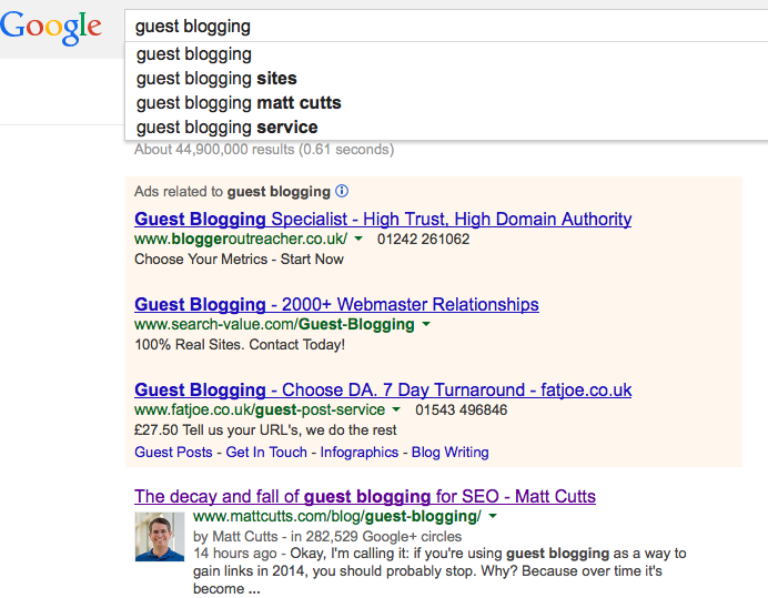Screenshot Google SERPS