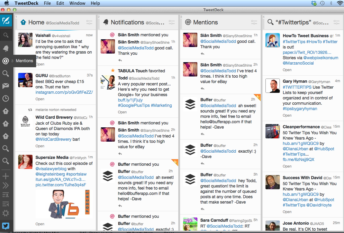 Tweetdeck columns on a Mac screen