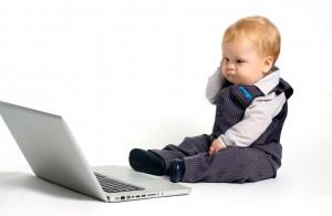 baby thinking laptop