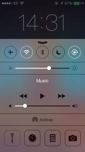 iOS 7 Control Centre
