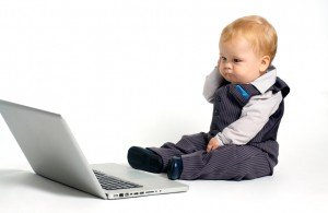 baby thinking laptop