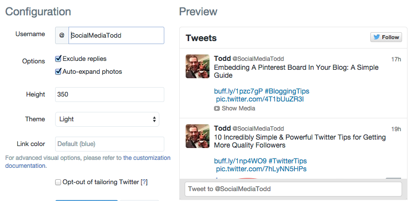 How to set a Twitter widget without replies on