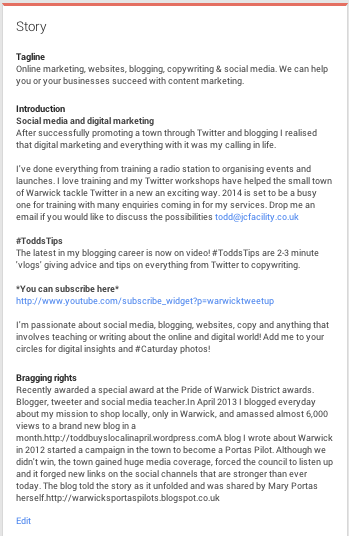 Google+ about section - Google+ tips