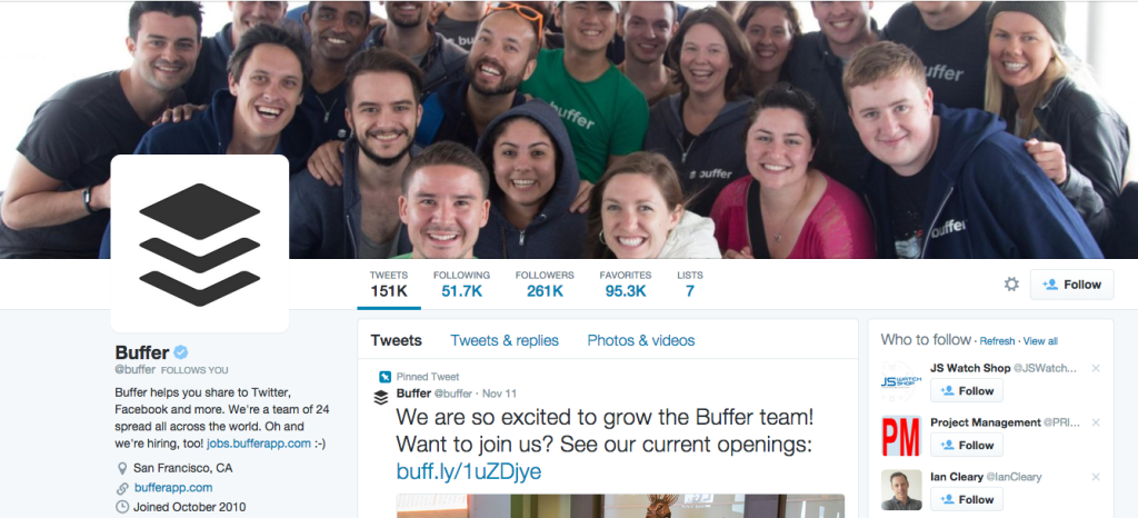 Bufferapp's Twitter bio