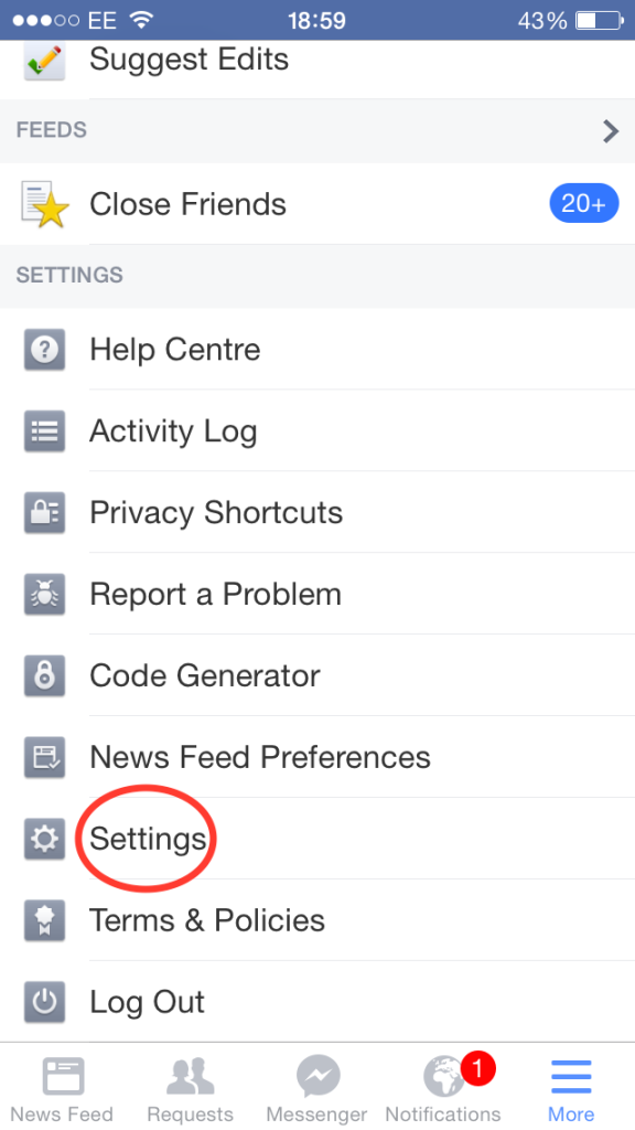 iPhone Facebook App settings