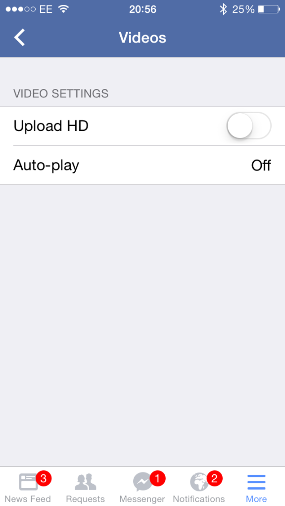 Turning Facebook video autoplay off