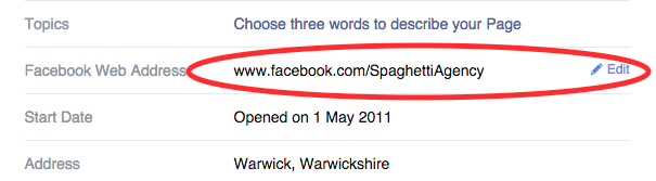 Changing your Facebook Page URL web address