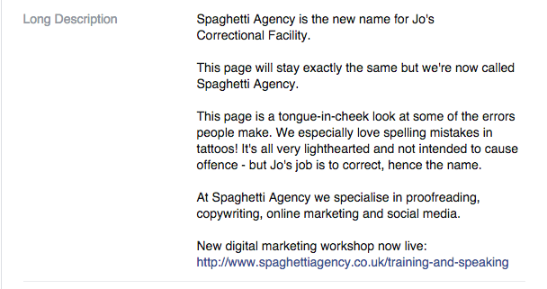 Changing your Facebook Page Name - The About section