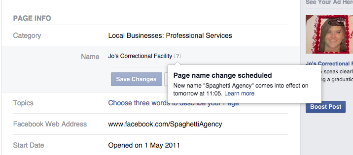 Changing your Facebook Page name