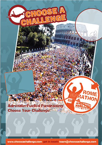 A2 posters for Choose a Challenge, with blank areas to be overprinted with text for events throughout the year