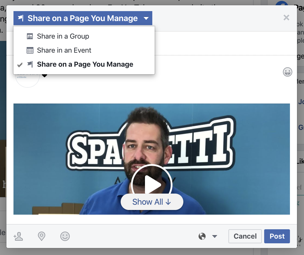 how to forward a facebook post