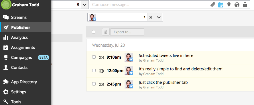 Hootsuite Publisher - Twitter scheduling tool