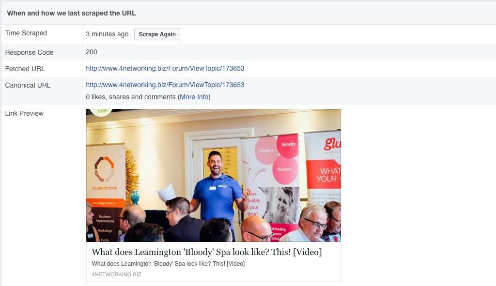 The Facebook Debugging tool