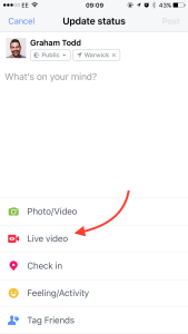 Facebook Live on iPhone
