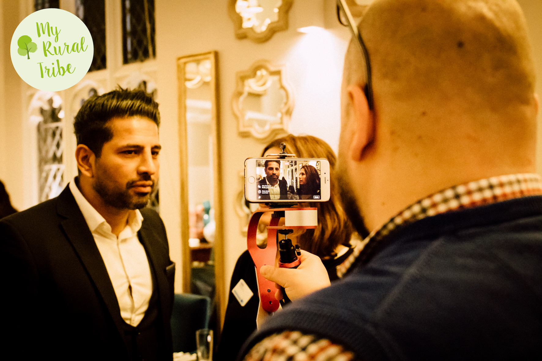 Facebook Live interview at a networking event