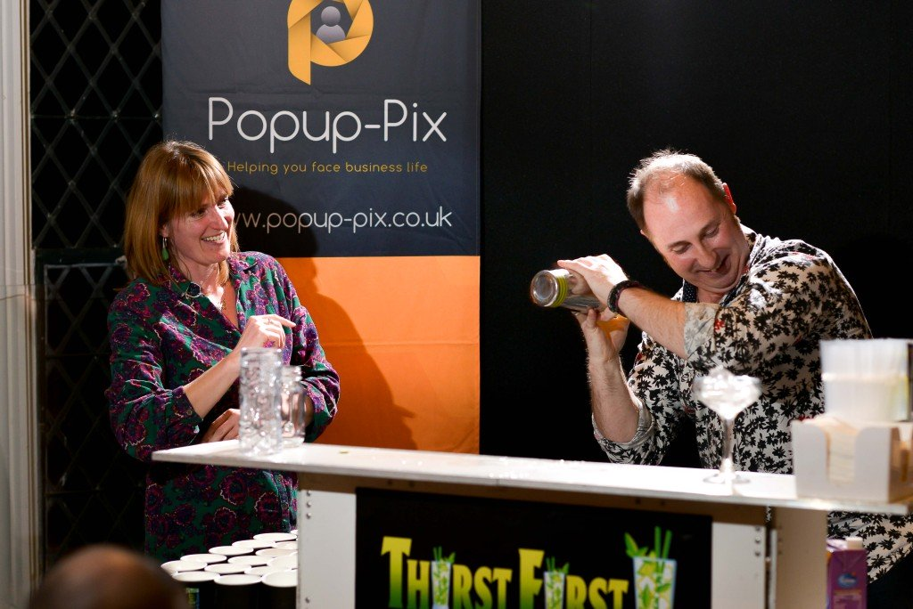 Cocktails being mixed at a networking event in Leamington Spa