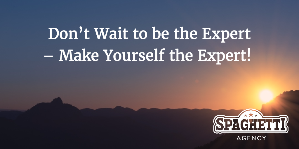 Don't Wait to be the Expert – Make Yourself the Expert!