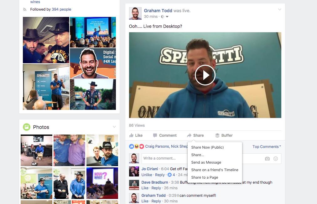 Sharing Facebook Live videos