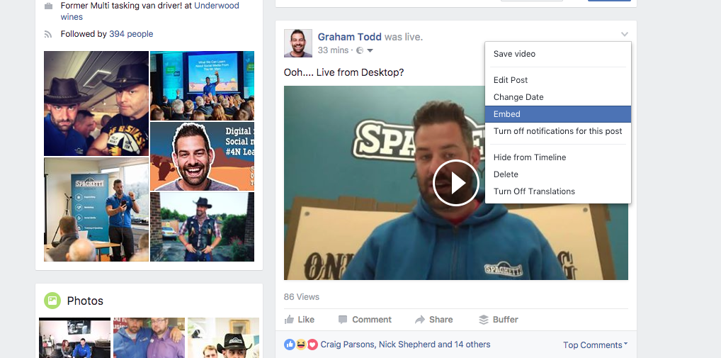 Embedding a Facebook Live video
