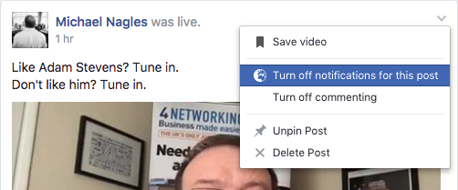 Turn off notifications for a Facebook post
