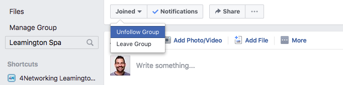 Unfollow and Facebook Group