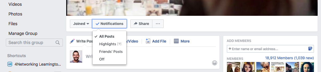 Turn off notifications for a Facebook Group