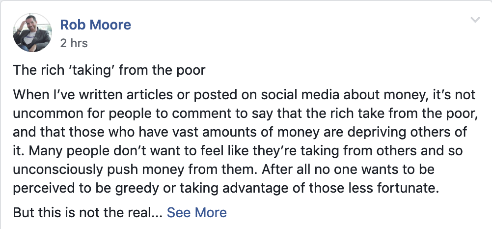 Rob Moore Facebook group post