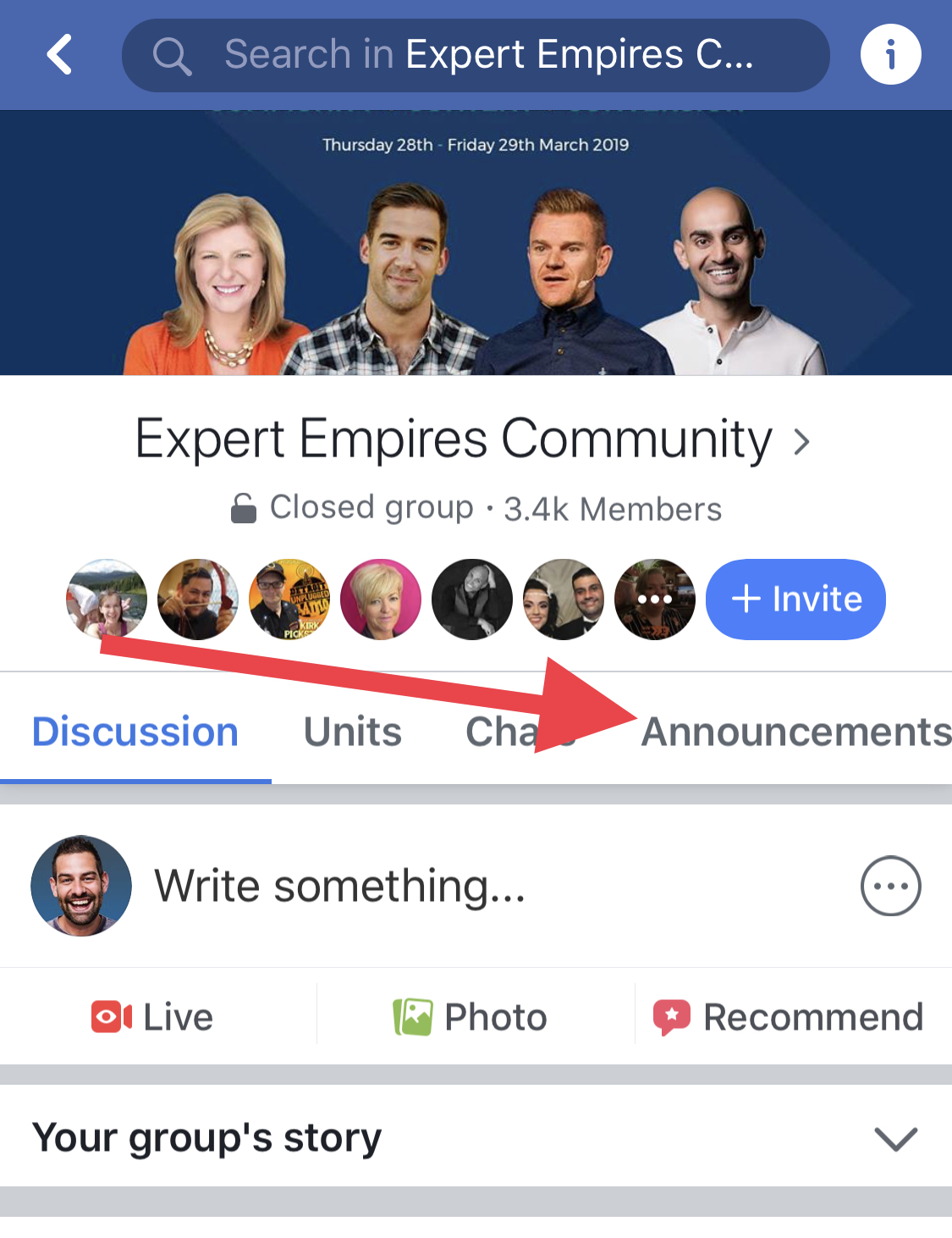 Finding announcements in a Facebook groupq