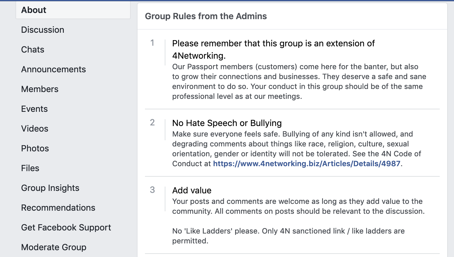 Finding the rules in a Facebook Group