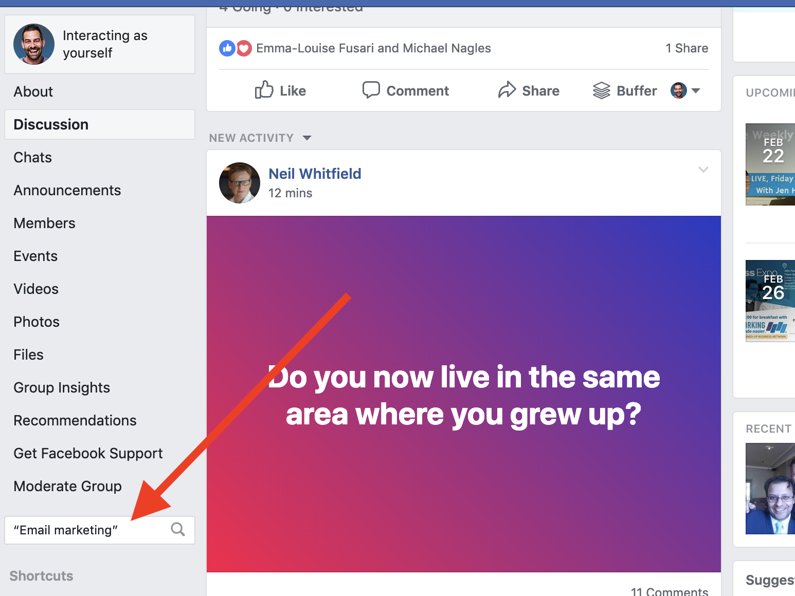 Searching Facebook groups