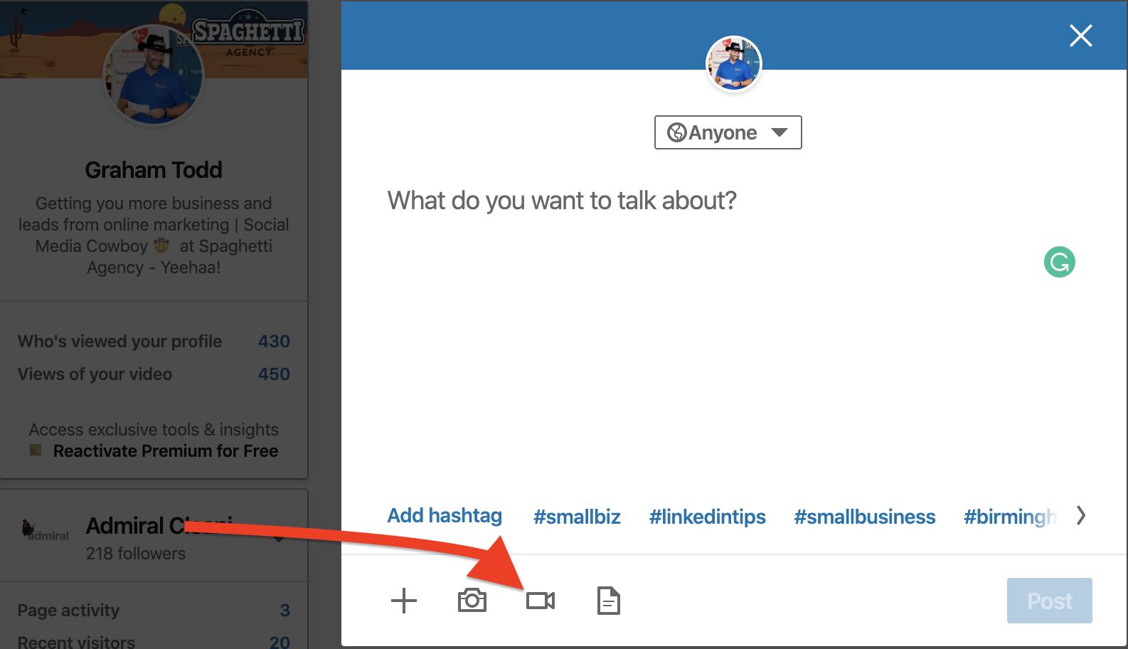 Adding a video to LinkedIn