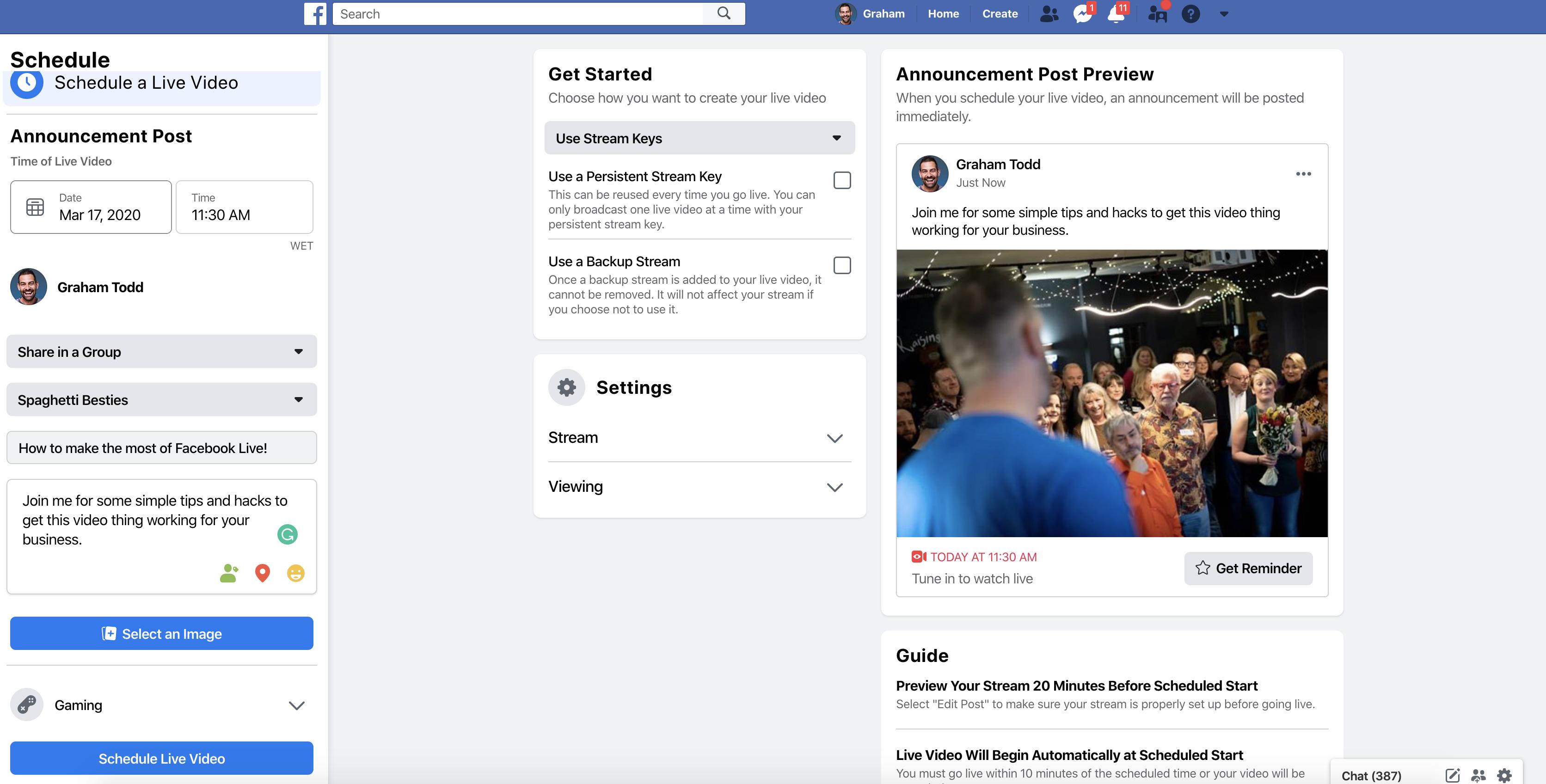 Scheduling a Facebook live