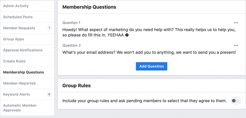 Growing an email list from a Facebook Group