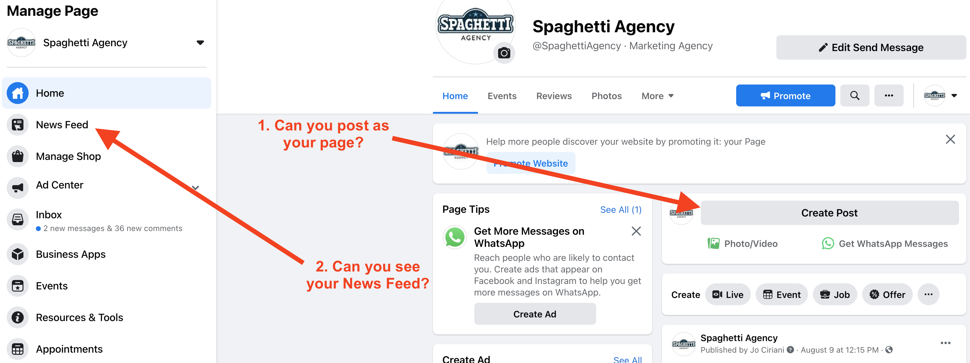 Finding the Facebook Pages News Feed